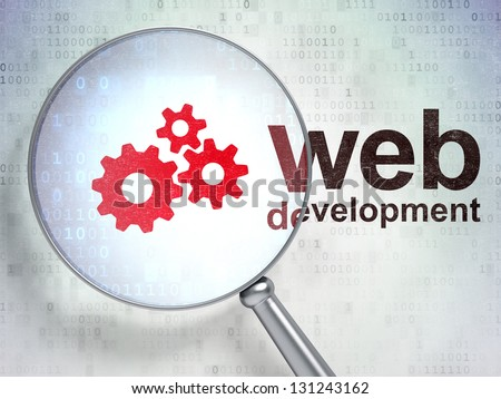 Magnifying optical glass with Gears icon and Web Development word on digital background, 3d render