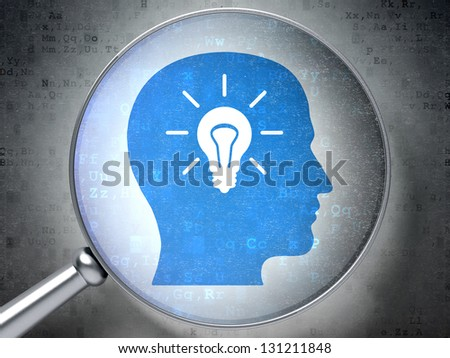Magnifying optical glass with Head Whis Light Bulb icon on digital background, 3d render