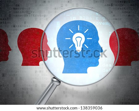 Magnifying optical glass with Head Whis Lightbulb icons on digital background, 3d render