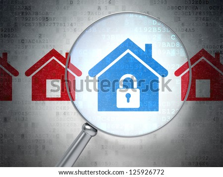 Magnifying optical glass with  icons on digital background, 3d render