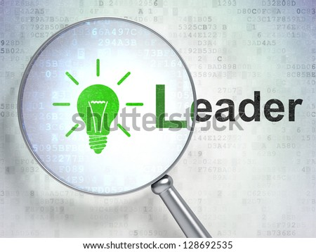 """Magnifying optical glass with Light Bulb icon and """"Leader"""" word on digital background, 3d render"""