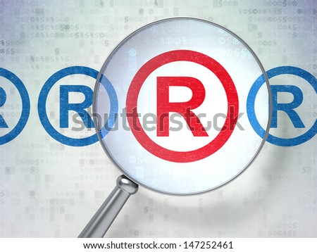 Magnifying optical glass with Registered icons on digital background, 3d render