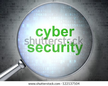 Magnifying optical glass with words cyber security on digital background, 3d render