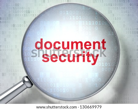 Magnifying optical glass with words Document Security on digital background, 3d render