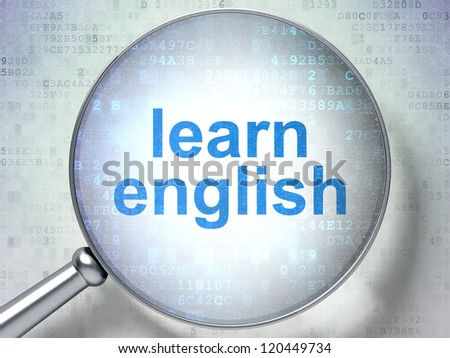 Magnifying optical glass with words learn english on digital background, 3d render - stock photo
