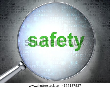 Magnifying optical glass with words safety on digital background, 3d render