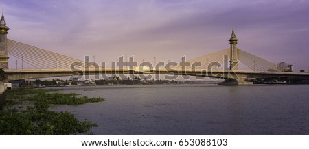 Maha Chesadabodindranusorn Bridge Suspension bridge across the chao phraya river in thailand. #653088103