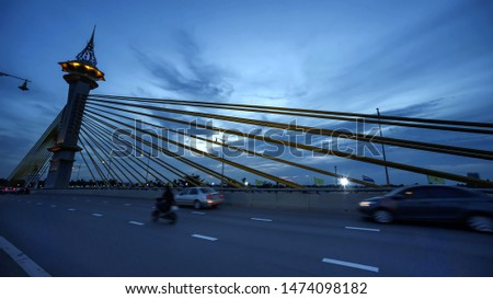 Maha Jetsada Bodin Nusorn Bridge at In the twilight in Thailand.