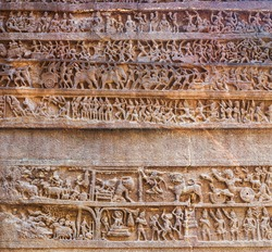 Mahabharata panel carvings at Kailasa or Kailash Temple at the Ellora Caves in Maharashtra, India