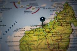Mahajanga, city in Madagascar pinned on geographical map