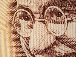 Mahatma Gandhi face on indian 500 rupee banknote extreme macro, India money closeup