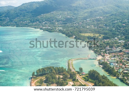 Mahe aerial view from airplane, Seychelles. #721795039