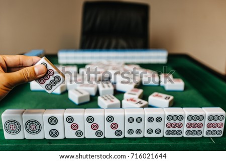 Mahjong Board Game Pieces Lying On Stone Table Concept Of