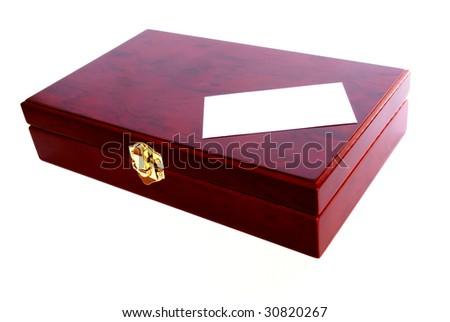 mahogany box with blank card isolated