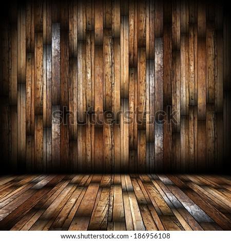 mahogany finish on interior empty architectural  backdrop #186956108