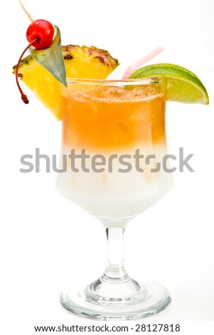 Mai Tai Cocktail over a white background