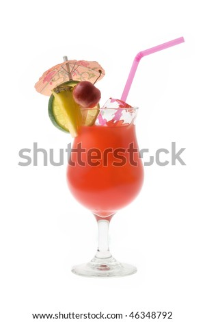 Mai Tai mixed drink with fruit and umbrella garnish on white background
