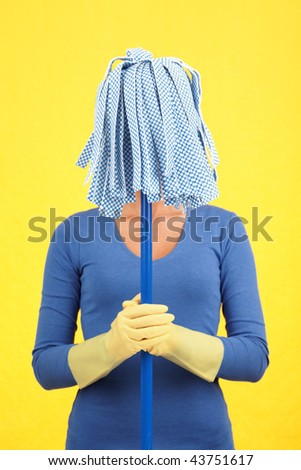 Maid house spring cleaning concept. Woman standing with mop in front of her face. Blue on yellow background.