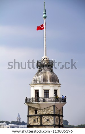 Maiden's Tower with Turkish flag in istanbul, Turkey