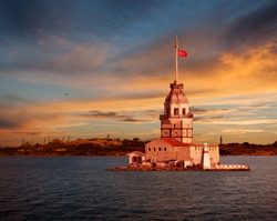 Maiden Tower and the Old City Silhouette in Istanbul Turkey