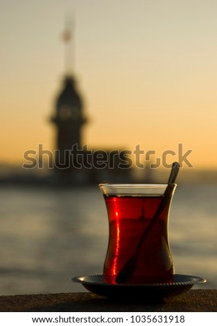 Maiden Tower and Turkish Tea taken in Uskudar, Istanbul Stok fotoğraf ©