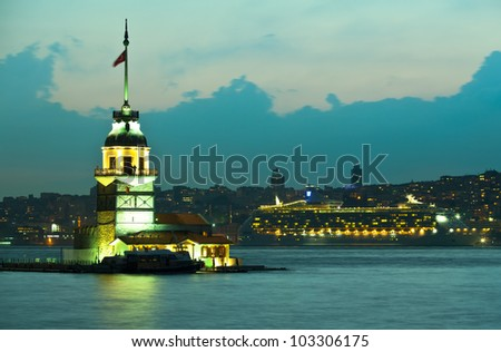 maiden tower at the istanbul turkey 3 - stock photo
