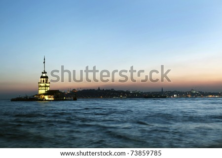 Maiden Tower in sunset, Istanbul.