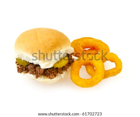 Maidrite beef (loose meat) meat sandwich with side of fried onion rings on white background and copy space. Traditional sandwich of Iowa, United States.
