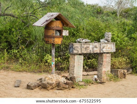 mail box in post office bay, Floreana Island, Galapagos