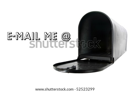mail box isolated on white with removable text requesting email