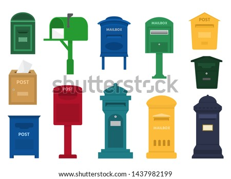 Mail box post mailbox or postal letterbox of American or European mailing and set of postboxes for delivery mailed letters to various countries illustration isolated on white background