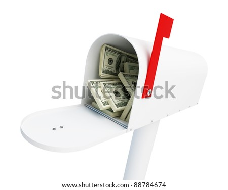 mail box stacks of dollars on a white background