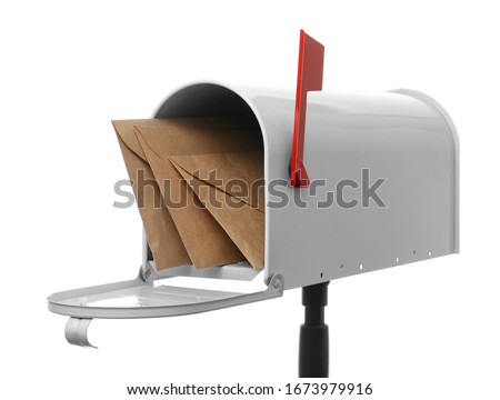 Mail box with letters on white background Stock photo ©