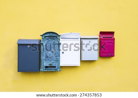 Mail boxes on a yellow wall