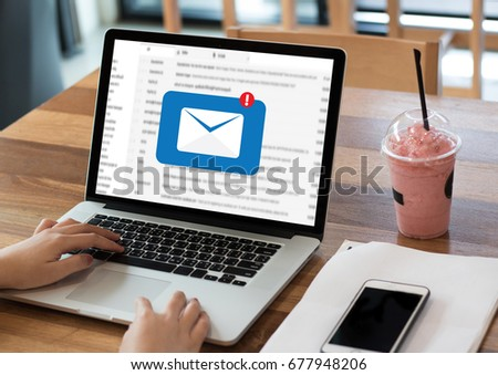 Mail Communication Connection message to mailing contacts phone Global Letters Concept #677948206