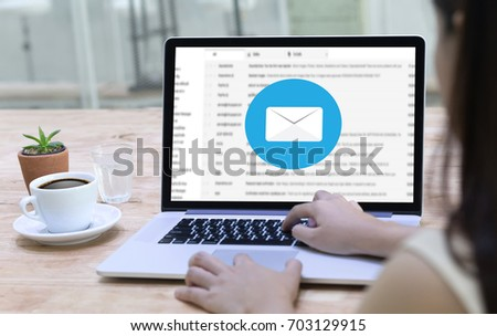 Mail Communication Connection message to mailing contacts phone Global Letters Concept #703129915
