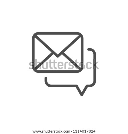 Mail correspondence line icon isolated on white