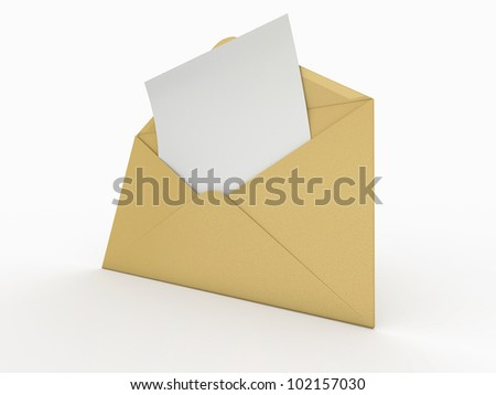 Mail. Envelope and empty letter on white background.  3d