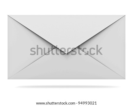 Mail envelope isolated on white background with shadow