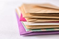 Mail envelopes on white background, closeup