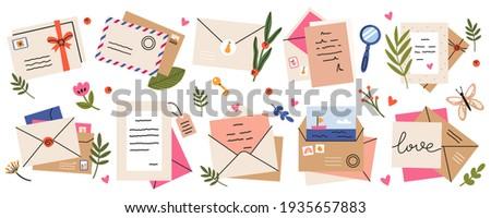 Mail envelopes. Post cards, envelopes, post stamps, craft paper letters and mail envelopes. Postage cards, cute envelopes  illustration set