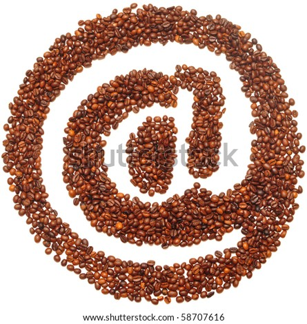 mail icon is lined with coffee beans on white background