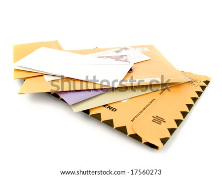 "Mail isolated on white background. The large envelope at the bottom says ""Valuable photographic material enclosed""."