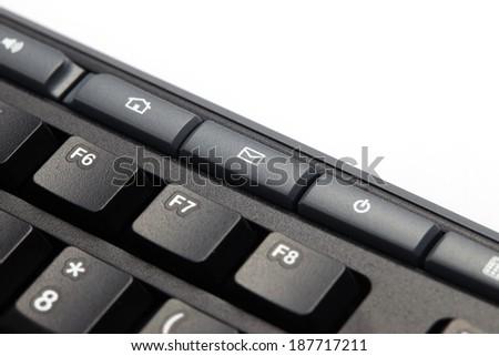 Mail keyboard button on black keyboard