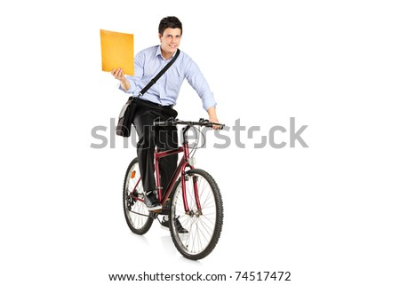 Mail man on a bicycle bringing mail isolated on white background
