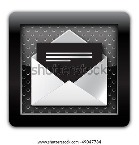 Mail open metallic icon