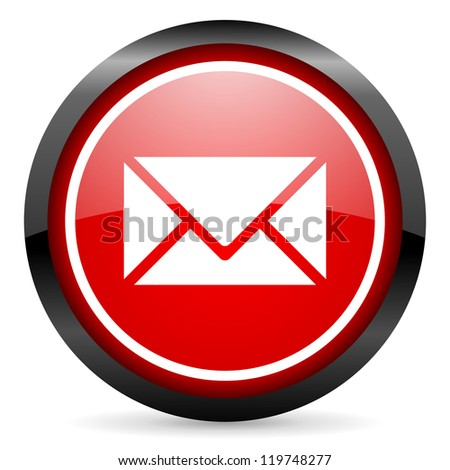 mail round red glossy icon on white background