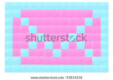 mail sign create by reminder note (post it) - stock photo