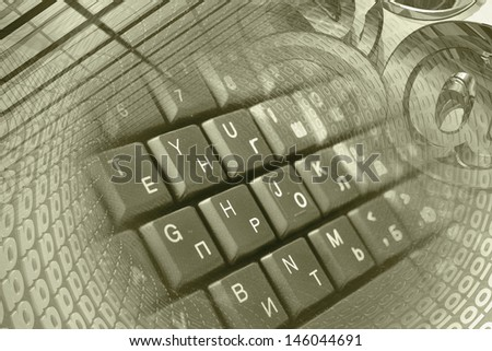 Mail signs and keyboard - abstract computer background in sepia.