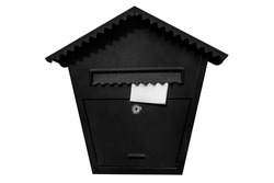 Mailbox isolated on a white background. A white piece of paper is stuck in the slot of the mailbox.
